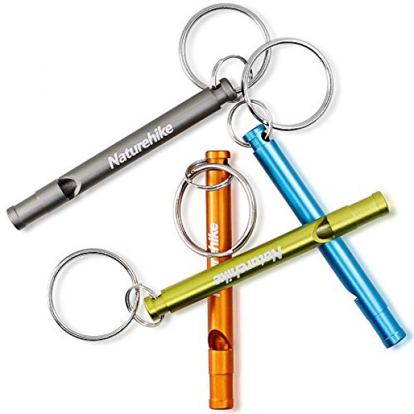FineGood Survival Whistle 2 FineGood Aluminum Whistles, 4 Pack Emergency Survival Whistles with Key Ring Chain for Sport Referee Hiking Camping Climbing