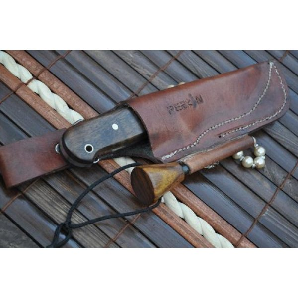 Perkin Fixed Blade Survival Knife 4 Sale - Custom Handmade Damascus Hunting Knife Beautiful Bushcraft Knife with Sheath and Knife Sharpener