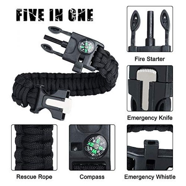 WEREWOLVES Survival Paracord Bracelet 5 WEREWOLVES Survival Paracord Bracelets,Professional Personal EDC Tactical Bracelet,Multifunction Camping Hiking Gear with Compass, Fire Starter, Whistle and Emergency Knife