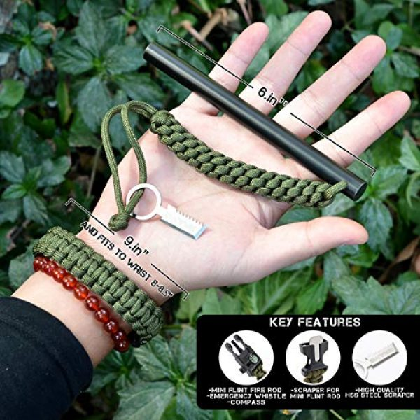 Brame Survival Fire Starter 4 Brame Ferro Rod 6 inch x 1/2 inch Fire Starter and Emergency Bracelet with Compass and Whistle, Fire Starting Survival Gear HSS Steel Scraper Ferrocerium Rod Kit with 9 ft Paracord and Carabiner