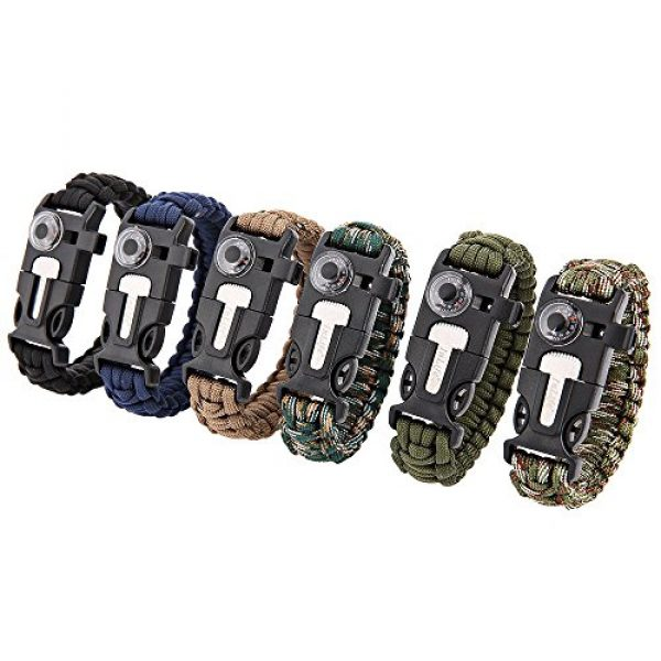 Wsobue Survival Paracord Bracelet 7 Paracord Bracelet, Outdoor Survival Gear Fire Starter Whistle Compass Emergency Knife, Perfect for Hiking Camping Fishing and Hunting
