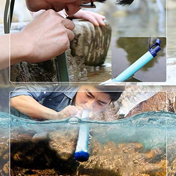 HEFUTE Survival Water Filter 4 HEFUTE Water Filter Straw Survival Filtration Portable Gear Emergency Preparedness Supply for for Drinking Hiking Camping Travel Hunting Fishing