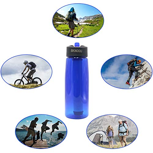 BKNOOU  2 BKNOOU Water Filtering Bottle 2-Stage Filter Straw Water Purifier Bottle for Camping Hiking Outdoor Traveling Sports Backpacking