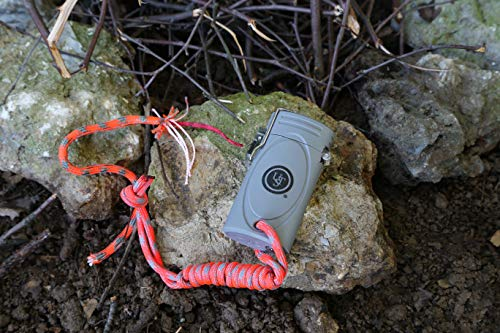 UST Survival Fire Starter 3 UST TekFire LED Fuel-Free Lighter with Convenient, Lightweight, Rugged Construction and Emergency Paracord Lanyard for Camping, Backpacking, Hiking and Outdoor Survival