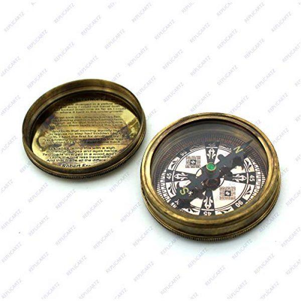REPLICARTZ Survival Compass 3 Brass Handmade Nautical Poem Compass with leather cover (Thoreu)