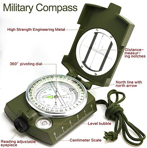 ydfagak Survival Compass 2 ydfagak Compass, Waterproof Hiking Military Navigation Compass with Fluorescent Design,Perfect for Camping Hiking and Other Outdoor Activities