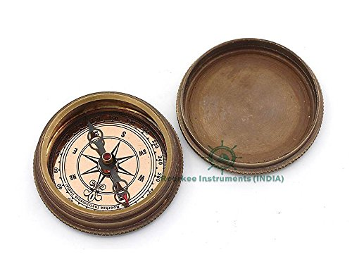 Roorkee Instruments India Survival Compass 3 ROORKEE INSTRUMENTS (INDIA) A NAUTICAL REPRODUCTION HOUSE Famous Quote of J.M. Barrie, Peter Pan Second Star to The Right Compass w/case