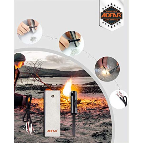 AOFAR Survival Fire Starter 2 AOFAR AF-374 Magnesium Fire Starter (2-Pack) Waterproof Fire Steel Pouch for Camping, Hiking, Hunting, Backpacking,Outdoor Survival fire Striker kit