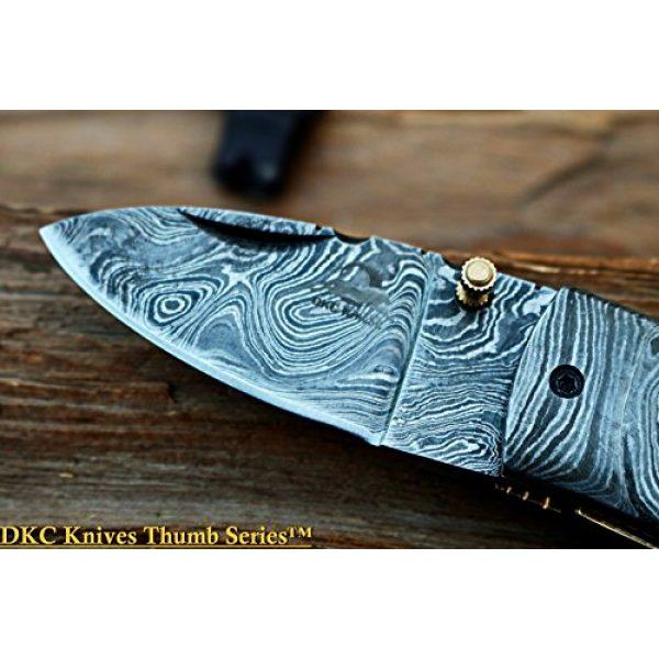 """DKC Knives Folding Survival Knife 4 (8 6/18) Sale DKC-43 Black Thumb Damascus Steel Folding Pocket Knife 3.5"""" Folded 6.25"""" Open 7.5oz 2.25"""" Blade Black Buffalo Horn Damascus Bolster"""