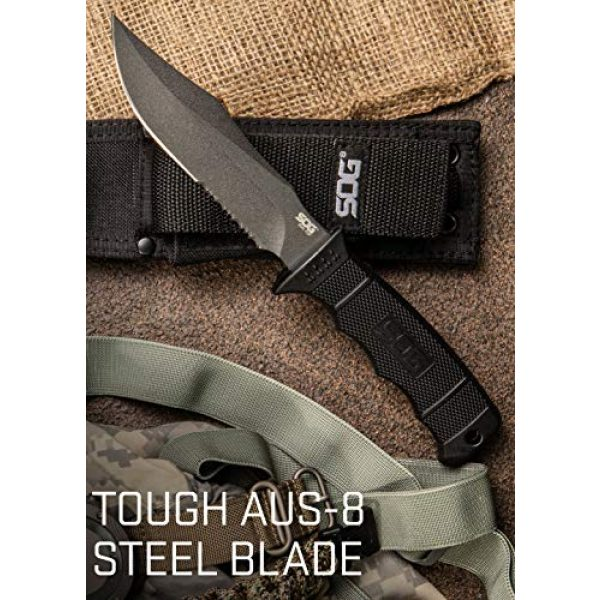 SOG Fixed Blade Survival Knife 4 SOG Fixed Blade Knives with Sheath - SEAL Pup Tactical Knife, Survival Knife and Hunting Knife w/ 4.75 Inch Blade and Knife Sheath