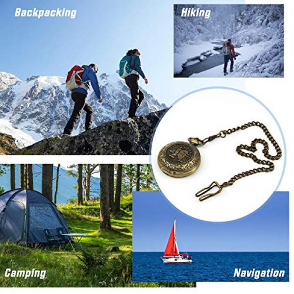 MIASTAR Survival Compass 6 Classic Collection Antiqued Finish Compass with Chain | Premium Pocket Compass | Survival Gear Compass for Kids Hiking, Camping, Motoring, Backpacking, Outdoor Activities (Copper)