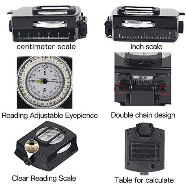 COSTIN Survival Compass 3 COSTIN Multifunctional Compass, Metal Military Waterproof High Accuracy Compass with Map Measurer, Distance Calculator,Bubble Level Perfect for Outdoor Activities, Matte Black