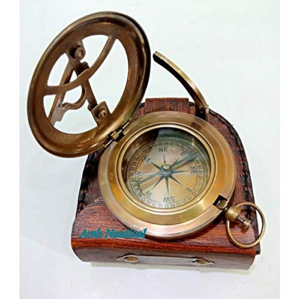 Aysha Nautical Survival Compass 3 Aysha Nautical Gifts for Husband/Nautical Collectibles Brass Sundial Compass with Handmade Leather Case