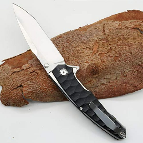 Kimter Folding Survival Knife 7 Kimter Folding Knife with Clip G10 Handle Outdoor Knives EDC Tactical Pocket Knife Reliable Locking Mechanism Flipper Knife for Camping Survival Hiking
