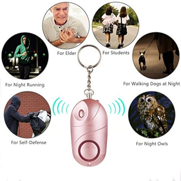 MIBOTE Survival Alarm 7 MIBOTE Personal Alarm, 130 dB Emergency Self Defense Personal Alarm Keychain with LED Light for Women, Kids, Students, Elderly (2 Pack, Rose Gold)