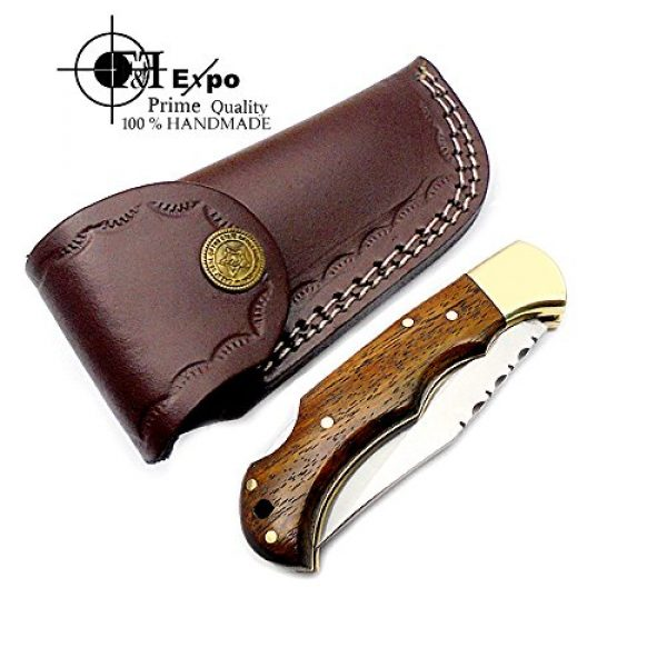 F&f Expo Folding Survival Knife 7 F&f Expo Rose Wood 6.5'' Handmade Stainless Steel Folding Pocket Knife Brass Bloster With Back Lock 100% Top Quality