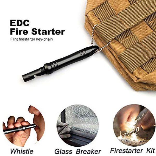 edcfans Survival Fire Starter 2 Waterproof Fire Starter Keychain with Whistle and Emergency Glass Breaker, Flint and Steel Survival Firestarter Kit, Permanent Match Striker, Magnesium Ferro Rod, EDC Survival Gear for Outdoor Camping