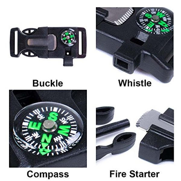 West Coast Paracord Survival Buckle 3 West Coast Paracord 2 Pack and 10 Pack Emergency Whistle Buckle with Flint Scraper Compass and Fire Starter for Outdoor Camping Hiking Paracord Bracelet