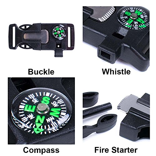 West Coast Paracord  3 West Coast Paracord 2 Pack and 10 Pack Emergency Whistle Buckle with Flint Scraper Compass and Fire Starter for Outdoor Camping Hiking Paracord Bracelet