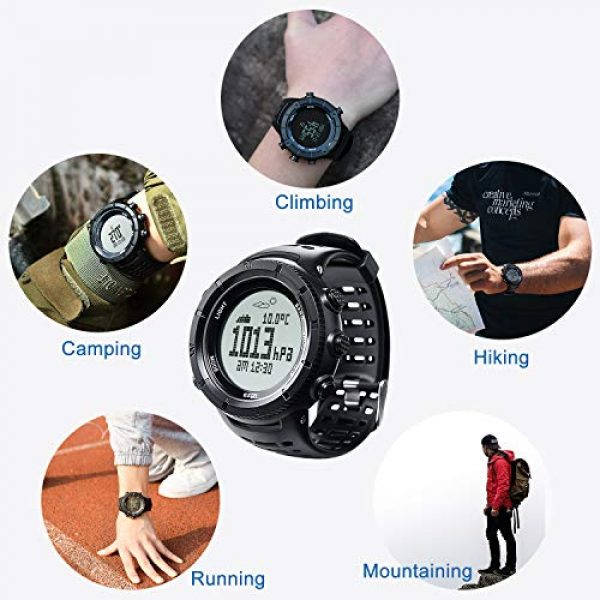 EZON Survival Compass 14 EZON Men's Digital Sports Watch for Outdoor Hiking with Compass Altimeter Barometer Thermometer Waterproof Military Watch Wristwatch H001H11