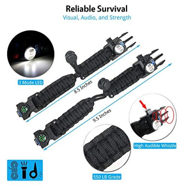 Nexfinity One Survival Paracord Bracelet 6 Nexfinity One Survival Paracord Bracelet - Tactical Emergency Gear Kit with SOS LED Light, Knife, 550 Grade, Adjustable, Multitools, Fire Starter, Compass, and Whistle - Set of 2