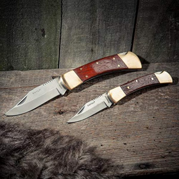 Sheffield Folding Survival Knife 5 Sheffield 12697 Classic Folding Knife Set | 2 Partially Serrated Knives One 3 Blade, One 3-3/4 Blade | Hardwood & Brass Handles | Lock Back Release | Quality Go-Anywhere Knives