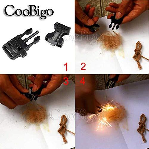 "CooBigo  5 10Pcs 3/4"" (19mm) Fire Starter Survival Whistle Buckle Flint Scraper for Outdoor Hiking Camping Backpack Bag"