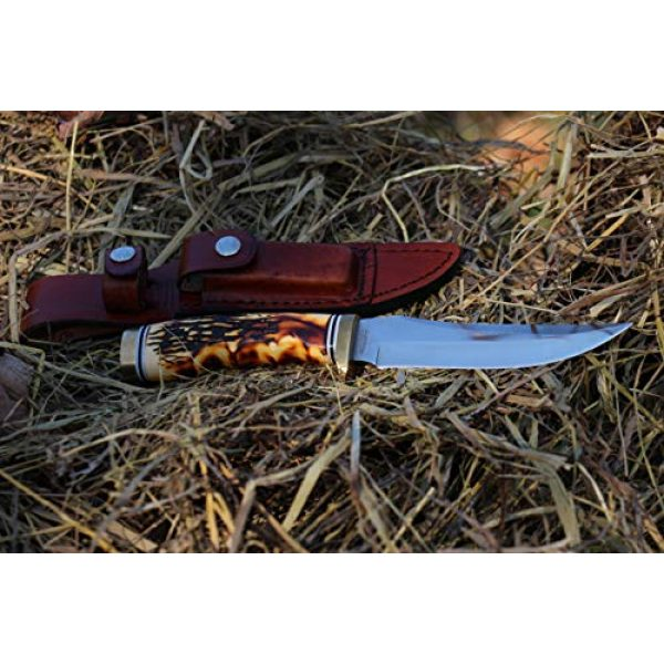 Uncle Henry Fixed Blade Survival Knife 6 Uncle Henry 153UH Golden Spike Rat Tail Tang 9.25in S.S. Fixed Blade Knife with a 5in Blade and Staglon Handle for Outdoor Survival, Camping and Hunting