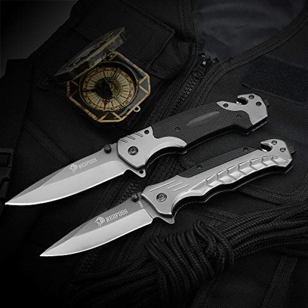 NedFoss Folding Survival Knife 3 NedFoss Survival Folding Knife, with Glass Breaker and Belt Cutter, Thumb Stud and Flip Assist, Outdoor Sturdy Tactical Rescue Pocket Knives with Clip