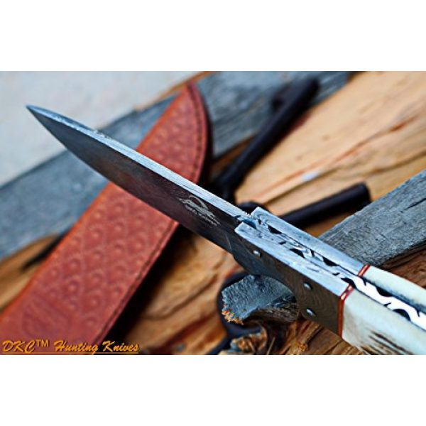 """DKC Knives Fixed Blade Survival Knife 6 DKC Knives DKC-715 Swagger Stag Horn Hunting Handmade Knife Fixed Blade 8.5 oz 9"""" Long 4"""" Blade"""