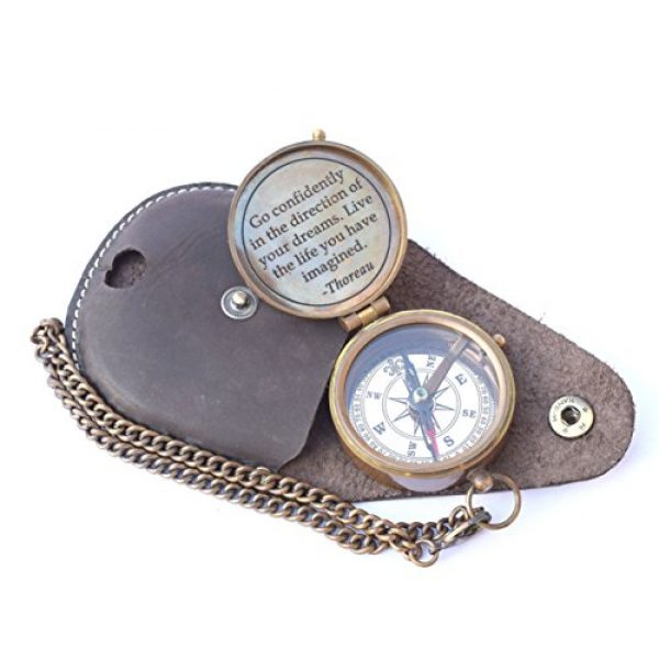 NEOVIVID Survival Compass 5 NEOVIVID Thoreau's Go Confidently Quote Engraved Compass with Stamped Leather case, Camping Compass, Boating Compass, Gift Compass, Graduation Day Gifts