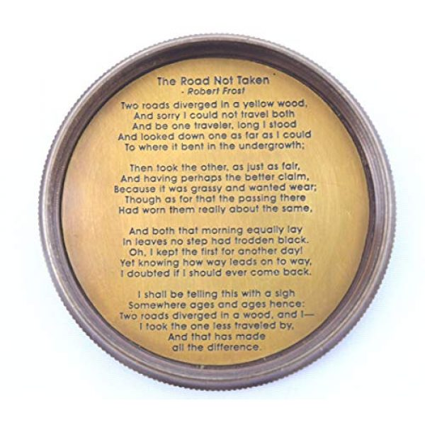 NEOVIVID Survival Compass 5 NEOVIVID Robert Frost Poem Engraved Brass Compass with Leather Case, The Road Not Taken Compass