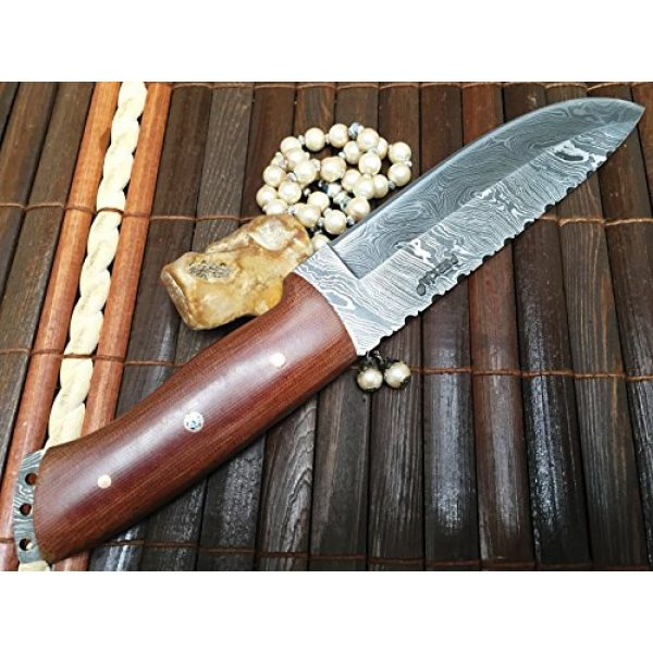 Perkin Fixed Blade Survival Knife 5 Perkin - Handmade Damascus Hunting Knife with Sheath