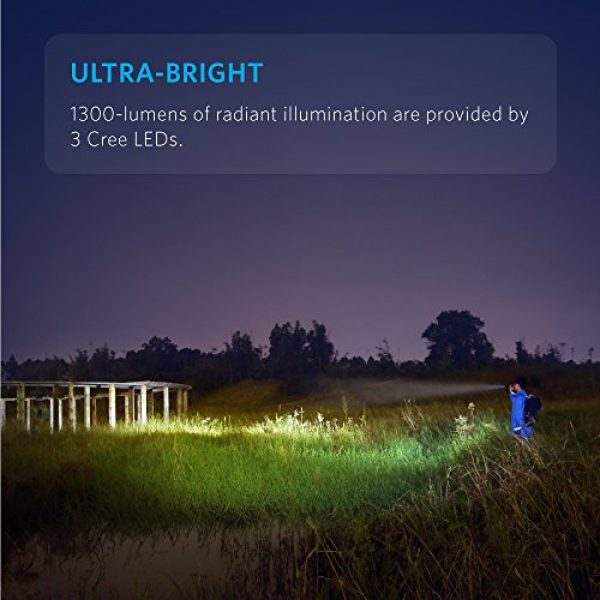 Anker Survival Flashlight 2 Anker Ultra-Bright Tactical Flashlight with 1300 Lumens, Rechargeable(26650 Battery Included), IPX7 Water-Resistant, Bolder LC130 LED with 5 Light Modes for Camping, Security, Emergency Use