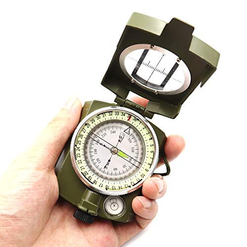 DETUCK Survival Compass 6 DETUCK(TM Military Compass Metal Sighting Lensatic Compass, Night Fluorescent, Impact Resistant and Waterproof, Survival Navigation Compass for Hiking, Camping, Hunting, Backpacking