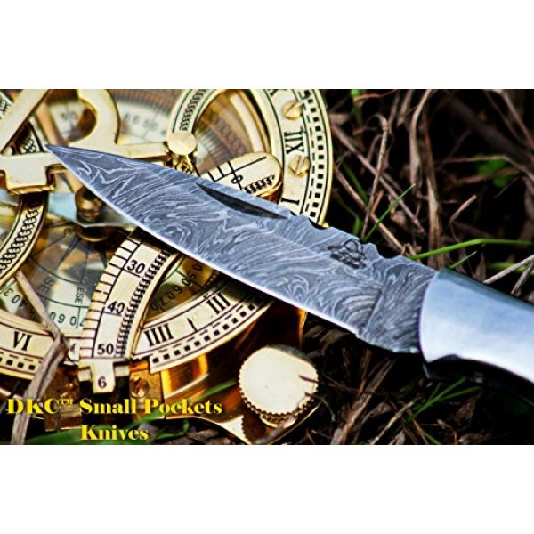"""DKC Knives Folding Survival Knife 3 DKC Knives DKC-58-LJ-OW Little Jay Damascus Folding Pocket Knife Olive Wood Handle 4"""" Folded 7"""" Long 4.7oz oz High Class Looks Feels Great in Your Hand and Pocket Hand Made LJ-Series"""