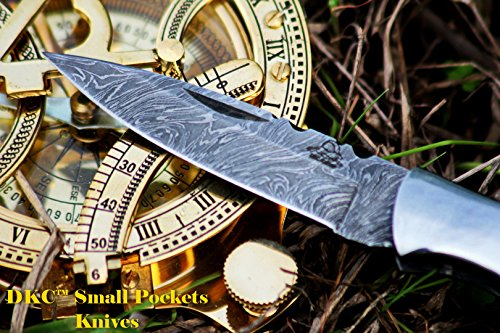 """DKC Knives  3 DKC Knives DKC-58-LJ-OW Little Jay Damascus Folding Pocket Knife Olive Wood Handle 4"""" Folded 7"""" Long 4.7oz oz High Class Looks Feels Great in Your Hand and Pocket Hand Made LJ-Series"""