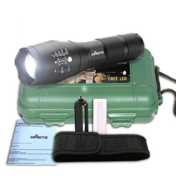 XINSITE Survival Flashlight 6 XINSITE Led Flashlight, T6 Zoomable Handheld 900 High Lumens Tactical Flashlight, Brightest Flash Light with 5 Light Modes for Outdoor Torch Light