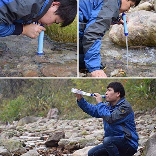 Puimentiua Survival Water Filter 7 Puimentiua Straw Filter, Straw Water Filter, Hiking Water Purifier, Camping Straw Filter for Backpacking, Drinking Water in Survival Situation