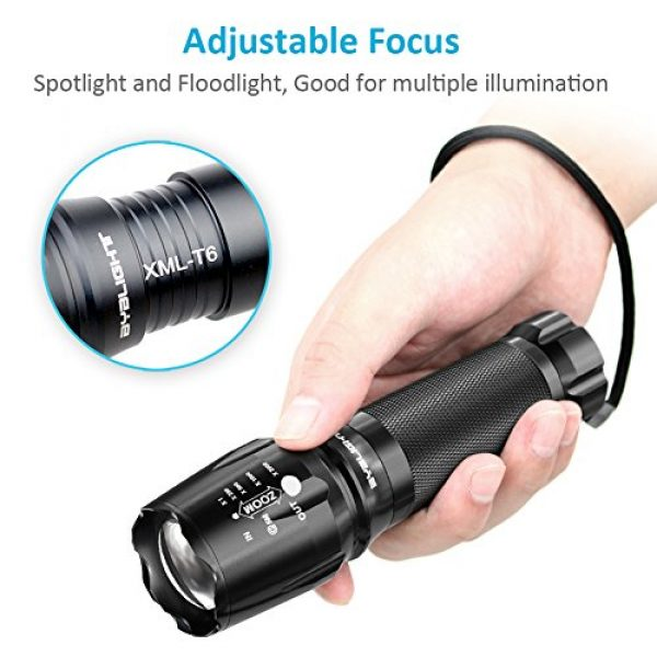 BYB Survival Flashlight 3 Tactical Flashlight, 800 Lumens BYBLIGHT Zoomable Flashlight, Rechargeable Cree Led Flashlight with AC Charger and 26650 Battery, Bouns Solar Power Keychain Flash Light