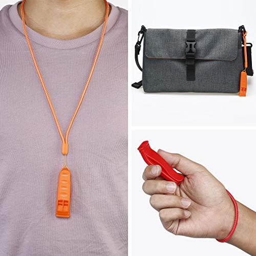 Frienda  5 10 Pieces Safety Whistle Survival Whistle Emergency Whistle with 20 Pieces Lanyard for Marine Traveling Hiking Camping Boating Hunting Rescue Outdoor Activities