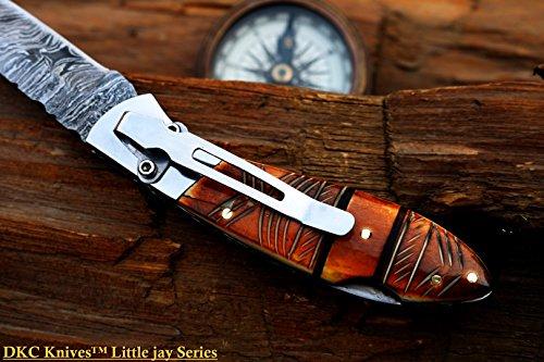 "DKC Knives  4 DKC Knives DKC-58-LJ-EH-DS-PC Little Jay Chief Pocket Clip Damascus Steel Folding Pocket Knife Handle 4"" Folded 7"" Long 4.7oz oz High Class Looks Hand Made LJ-Series"