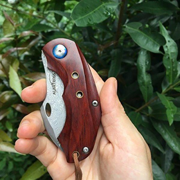 ALBATROSS Folding Survival Knife 5 ALBATROSS HGDK003 Sharp VG10 Damascus Folding Pocket Knife with Liner Lock, Yellow Sandalwood Handle, Gifts/Collections