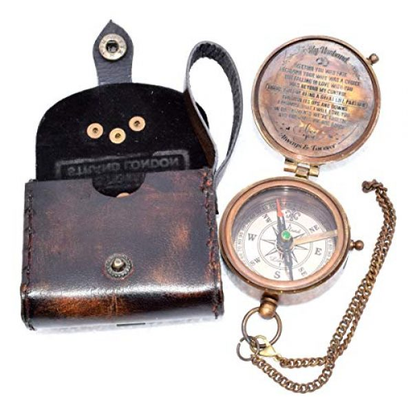 india nautical Survival Compass 2 india.nautical. Grow Old with ME Engraved Brass Compass ON Chain with Leather CASE, Directional Magnetic Compass in