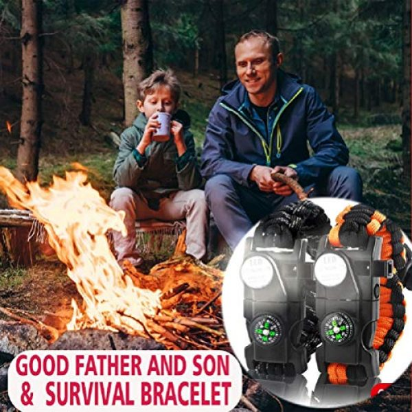 IMPHOM Survival Paracord Bracelet 6 IMPHOM Survival Bracelet Paracord Military Buckle Tool Adjustable Rope Accessories Kit, Fire Starter, Knife, Compass, LED Light,Whistle,for Fishing Hiking Travel Camp(2pcs)