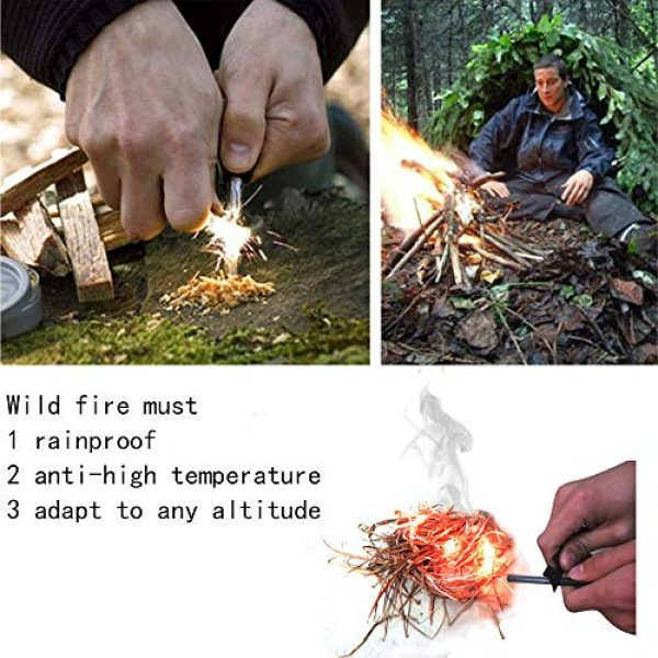 OUKEYI Survival Fire Starter 6 OUKEYI Magnesium Survival Fire Starter with Compass,Handcrafted Wood Handle | 12,000-20,000 Strikes | Traditional Survival Ferro Rod | Neck Lanyard,Random Colors Black and White