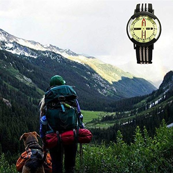 Kakuru Survival Compass 7 Kakuru Survival Fist Aid Wrist Compass, High Accuracy IP67 Waterproof Dustproof Luminous Watch Compass for Diving Hiking Outdoor Activities