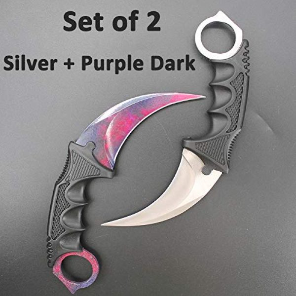 WeTop Fixed Blade Survival Knife 3 Karambit Knife, Set of 2, CS-GO for Hunting Camping Fishing Self Defenses and Field Survival, Stainless Steel Fixed Blade Tactical Knife with Sheath and Cord (Silver + Purple Dark).