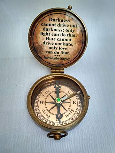 Antiqula  3 Joy to The World The Lord HAS Come Engraved Brass Antique Look Vintage Compass with Real Leather Case Antishock Outdoor Camping Hiking Home Decor staedtler Compass for Kids