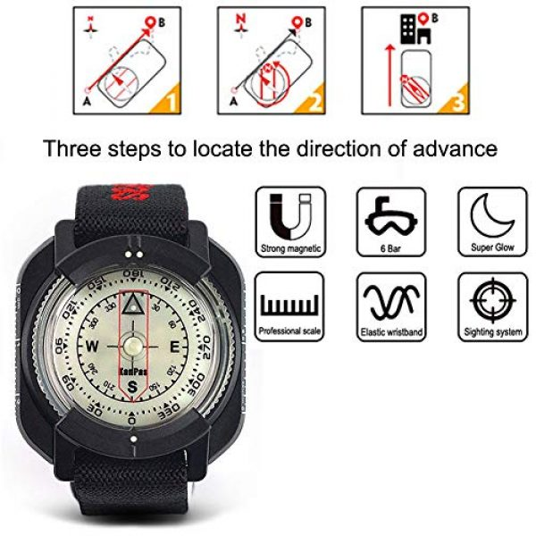 KanPas Survival Compass 2 Diving Sighting Wrist Compass for Outdoor Orienteering Mountaineering Hiking
